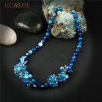 KCALOE Women's Blue Choker Statement Necklace <b>Jewelry</b> Natural Stone Pendant <b>Handmade</b> Beaded Crystal Necklaces For Women