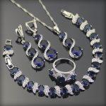 Costume Silver 925 <b>Jewelry</b> Sets Women Earrings/Rings/Pendant/Necklace/Bracelets With Set Blue Zircon White Stones Free Box