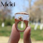 2018 <b>Handmade</b> Wood Resin Ring Snow Lotus Flower Inside Ring Transparent Fantastic Magical Finger Ring for Men Women Gift <b>Jewelry</b>