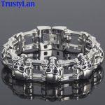 TrustyLan Punk Rock 23MM Wide Skull Chain Man Bracelet Solid Stainless Steel Men's Bracelets Male <b>Handmade</b> <b>Jewelry</b> Armband