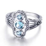 Real 925 Sterling Silver Cocktail Rings Women <b>Handmade</b> Vintage Hollow Created Aquamarine Stone CZ Finger Ring Lady Fine <b>Jewelry</b>