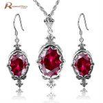 Beautiful Princess Red Rhinestone Crystal Women Jewelry Sets 925 Stamp Sterling <b>Silver</b> Vintage <b>Earrings</b>/Pendant Wedding Dresses