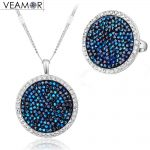 VEAMOR Pave Crystals Round <b>Necklace</b> Ring <b>Jewelry</b> Sets White Gold Color Luxury Party Women <b>Jewelry</b> Made With Austria Crystal