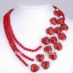 3 Rows Red Round/Heart Chalcedony White Pearl Necklace Gifts For Girl Women DIY Fashion <b>Jewelry</b> <b>Making</b> Design Natural Stone xu76