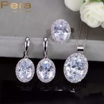 Pera New Arrival 3 Piece 925 Sterling Silver Big Oval Shape Cubic Zircon Tennis Necklace And Earrings <b>Jewelry</b> Set For Women J195