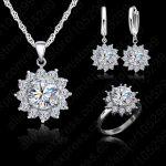 JEXXI New <b>Fashion</b> Flower Sun Cubic Zirconia Newest Genuine Silver <b>Jewelry</b> Sets Earrings Pendant Necklace Rings Size6-9