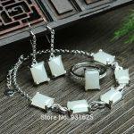925 <b>silver</b> Natural White HeTian Stone Gem Stone Inlay Lucky Bracelet <b>Earring</b> Ring Set + certificate Fashion Fine Jewelry