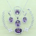 Women Purple Crystal <b>Jewelry</b> Sets 925 Logo Silver Color Bracelets/Drop Earrings/Ring/Necklace/Pendant with 925 stamp