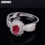 ZHHIRY Real Natural Ruby Ring Genuine 925 <b>Sterling</b> <b>Silver</b> Precious Red Gem Stone Rings For Woman Fine <b>Jewelry</b> Noble Royal