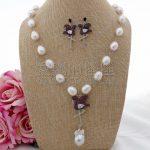 S100211 22″ White Keshi Pearl Cz Pave Flamingo <b>Necklace</b> Earrings Set