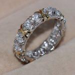 Size 5-11 Wholesale Fashion <b>Jewelry</b> Handmade 925 <b>sterling</b> <b>Silver</b> filled white gold Overlay 5A CZ Gem Wedding Cross Ring gift