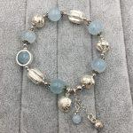 Sinya Natural Aquamarine <b>Bracelet</b> in 925 sterling <b>silver</b> blue crystal elastic bangles for Lover women ladies Mum best gift 2018