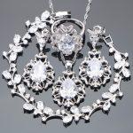 Costume Bridal <b>Silver</b> 925 Jewelry Sets Women Wedding Jewelry With White Zirconia Earrings <b>Bracelet</b> Necklaces & Pendant Rings Set
