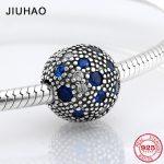 New 925 Sterling Silver round shape blue and like crystal CZ clips Lock beads Fit Original Pandora Charm Bracelet <b>Jewelry</b> <b>making</b>