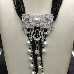 Black Onyx and white Fresh water Pearl pendant <b>necklace</b> double use 925 sterling <b>silver</b> with cubic zircon top quality