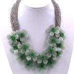 Natural Green Aventurine Flower Pendant <b>Silver</b> Necklace 18″
