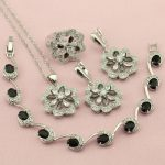 Women's Black And White Cubic Zirconia <b>Silver</b> Color Wedding Jewelry Sets Earrings Necklace Ring <b>Bracelet</b> Free Jewellry Box