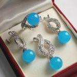 Prett Women's Wedding Hot! high qulity new <b>jewelry</b> silver plated + 12mm blue gem stone bread pendant, earring, , ring set