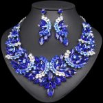 Fashion Big Crystal Statement <b>Necklace</b> Earrings set Indian Bridal <b>Jewelry</b> Sets for Brides Wedding Party Costume Jewellery Women