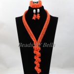 2017 African Coral Beads Nigerian <b>Handmade</b> Bridal Lace <b>Jewelry</b> Sets Fashion Statement Necklace For Women Free Shipping ABL067