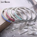 New Authentic 925 Sterling <b>Silver</b> Charm Bead Enamel Radiant Hearts Crystal Bangles <b>Bracelets</b> Fit DIY Pan Beads Jewelry 7 Colors