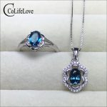 100% Natural light blue topaz jewelry set for party rose gold color 925 <b>silver</b> topaz ring <b>earrings</b> pendant set gift for girl