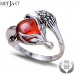 MetJakt Natural Garnet Ring Cute Fox with Zircon Solid 925 Sterling <b>Silver</b> Open Ring for Women's Party Wedding <b>Jewelry</b>