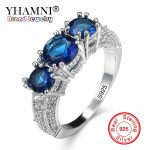 YHAMNI Fashion 7 Colors Authentic 100% 925 Sterling Silver Ring Set 3pcs Natural Gem Stone CZ Ring Original <b>Wedding</b> <b>Jewelry</b> A078