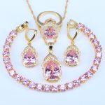 L&B Best Anniversary Present Gold Color Princess Pink Crystal White Zircon Bracelet Wedding <b>Jewelry</b> Set For Women