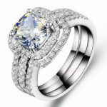 Fashion <b>Jewelry</b> New Design <b>Handmade</b> 8mm Cz 5A Zircon stone 10KT White Gold Filled 3 Engagement Wedding Band Ring Set Sz 5-11