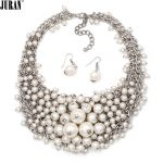 JURAN Classic Simulated Pearl Fashion <b>Jewelry</b> Set Elegent Romantic Wedding Choker <b>Necklaces</b> Luxury Dangle Earrings Pearl <b>Jewelry</b>