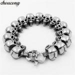 choucong 316L Stainless Steel Length 22cm Huge Heavy Solid <b>Silver</b> Men's Skeleton Skull <b>bracelet</b> Ghost bangle Biker Punk Jewerly