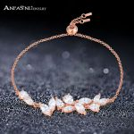 ANFASNI High Quality 925 Sterling <b>Silver</b> Bracelets And Vintage AAA Cubic Zirconia Rose Gold Color Leaf <b>Jewelry</b> For Women Party