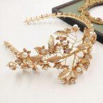 Jonnafe Gold Flower Crystal <b>Wedding</b> Tiara Vintage Bridal Hair Crown Accessories Handmade <b>Jewelry</b> Women Headpiece