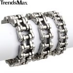 Trendsmax Bracelet For Men 316L Stainless Steel Silver Black Biker Bicycle Link Bracelet Hiphop Men <b>Jewelry</b> 14/19/23mm HBM13