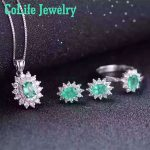 Classic emerald wedding jewelry set 4*6mm 2ct natural SI grade emerald gemstone jewelry set solid 925 emerald jewelry set
