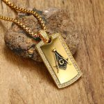 Men's Masonic Dog Tag Pendant Necklace with CZ Men <b>Jewelry</b> Stainless Steel Freemason Gold Tone Hip Hop <b>Accessories</b> 24 inch