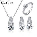 CZCITY Genuine 925 Sterling <b>Silver</b> Jewelry Set Classic Elegant Clear CZ Stone Jewelry Sets Women Wedding <b>Silver</b> Jewelry Suppiler
