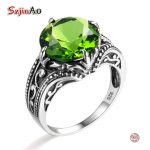 Szjinao Romantic Princess Cut Peridot Rings for Women <b>Handmade</b> Vintage 925 Sterling Silver Sporty Rock Wedding Excellent <b>Jewelry</b>