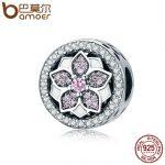 BAMOER Genuine 925 Sterling Silver Blooming Flower ,Pink Clear CZ Beads fit Original Bracelets & Bangles DIY Fine <b>Jewelry</b> SCC138