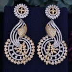 GODKI 68mm Luxury Popular Sunflower Full Mirco Cubic Zirconia Naija Nigeria <b>Wedding</b> Earring Fashion <b>Jewelry</b>