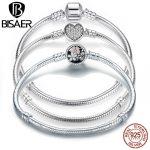 BISAER Genuine 100% 925 Sterling Silver Snake Chain Bangle & Bracelet Silver 925 Original <b>Jewelry</b> Gift 2018 New Design HJS902