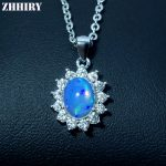 ZHHIRY Natural Opal Necklace Pendant Genuine 925 Sterling <b>Silver</b> For Women With Chain Real Color Gemstone Fine <b>Jewelry</b>