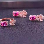 Natural pink topaz gem jewelry sets natural gemstone ring <b>Earrings</b> 925 <b>silver</b> Stylish windmill Flowers women wedding jewelry