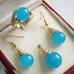 Prett Lovely Women's Wedding 12mm Blue GEM Pendant Necklace Earrings Ring Set 5.23