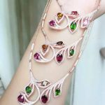 Natural garnet stone Necklace natural diopside crystal Pendant Necklace S925 <b>silver</b> trendy Multicolored twigs women <b>Jewelry</b>