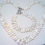 <b>Handmade</b> Pearl <b>Jewelry</b> Set White Color Biwa Pearl Necklace Bracelet 45CM & 19CM