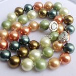 Multicolor 10mm glass pearl round beads necklace magnet clasp 18inch DIY women fashion <b>jewelry</b> <b>making</b> design
