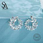 SA SILVERAGE 925 <b>Silver</b> Wicker Stud <b>Earrings</b> for Women Fine Jewelry Big New <b>Silver</b> <b>Earrings</b> Female Trendy <b>Earrings</b>