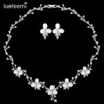 LUOTEEMI Luxury Freshwater Pearl Bridal Silver-Tone Flower Clear CZ Crystal <b>Necklace</b> Earrings Set For Women Anniversary <b>Jewelry</b>